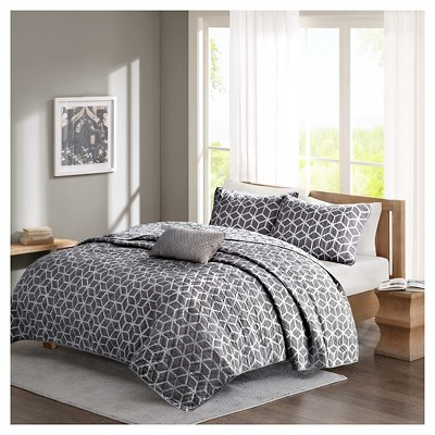 Gianna Geometric Cotton Coverlet Set (Full/Queen)4-Piece - Gray