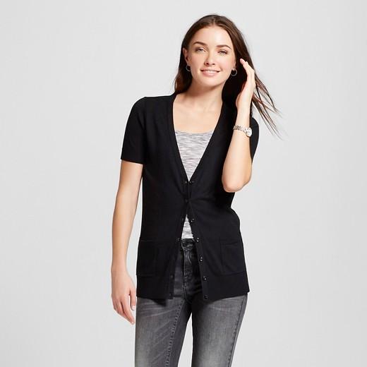 Women's Short Sleeve Crewneck Jersey Cardigan - Merona™ Black L ...