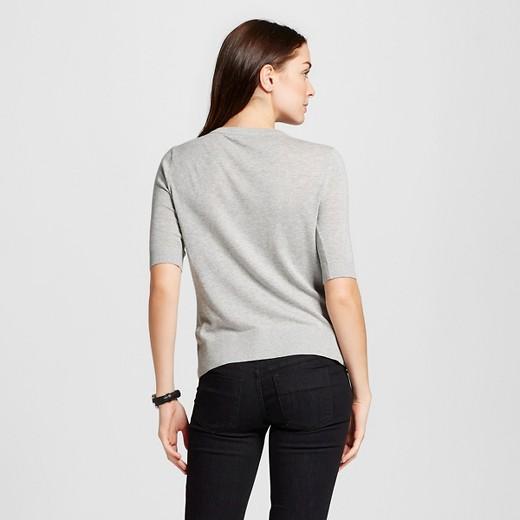 Women's Short Sleeve Crewneck Jersey Cardigan - Merona™ Light Gray ...