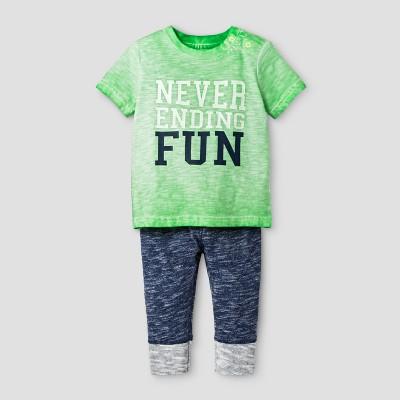 Baby Boys' 2-Piece Tee and Leggings Set Cat & Jack™ Island Green/Nighttime Blue 0-3 Months