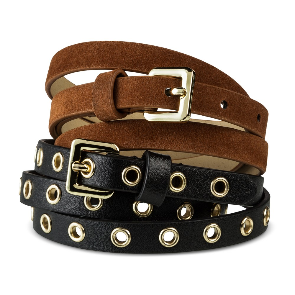 Womens New Grommet Multiple Belt - Mossimo Supply Co. Black/Brown XS, Multicolored