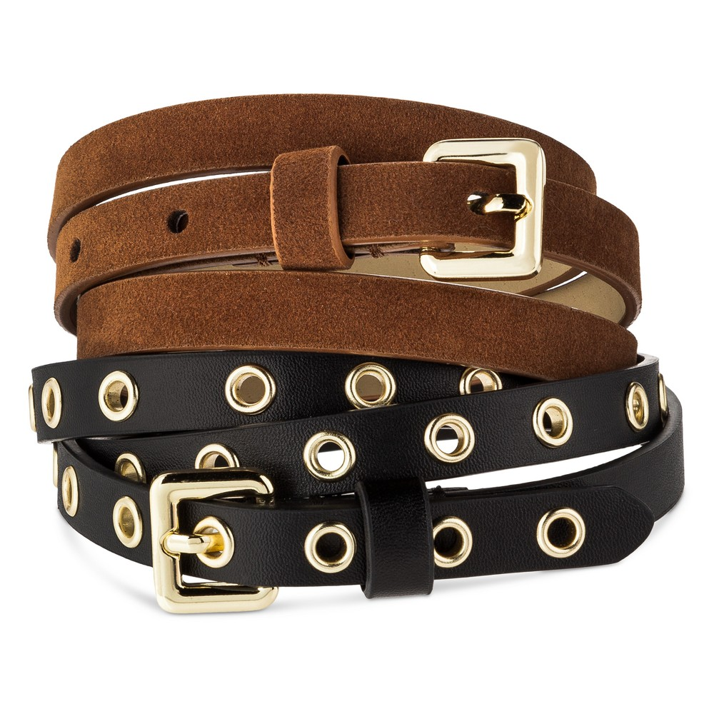 Womens New Grommet Multiple Belt - Mossimo Supply Co. Black/Brown S, Multicolored