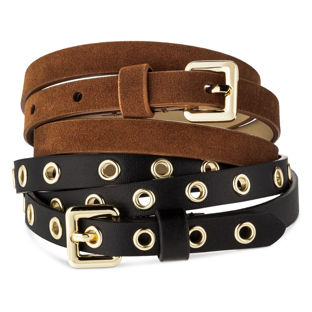 Womens New Grommet Multiple Belt - Mossimo Supply Co. Black/Brown L, Multicolored