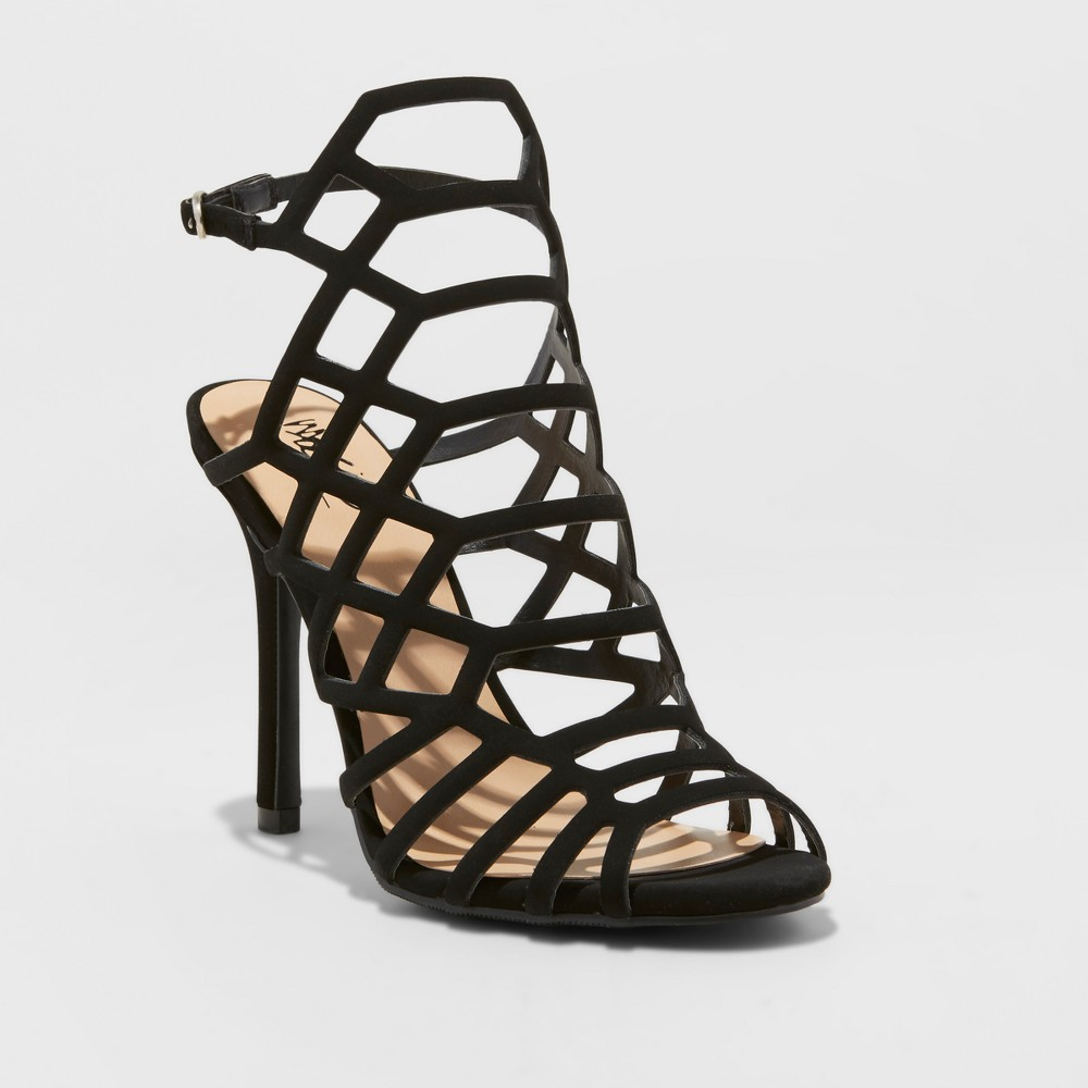 Womens Kylea Caged Heel Strappy Gladiator Pumps Mossimo - Black 7.5