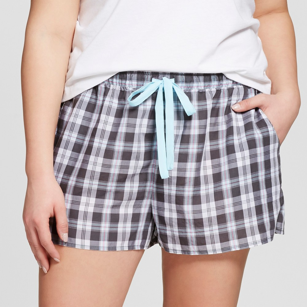 Womens Plus Size Tencel Pajama Shorts - Xhilaration - Charcoal 1X, Gray