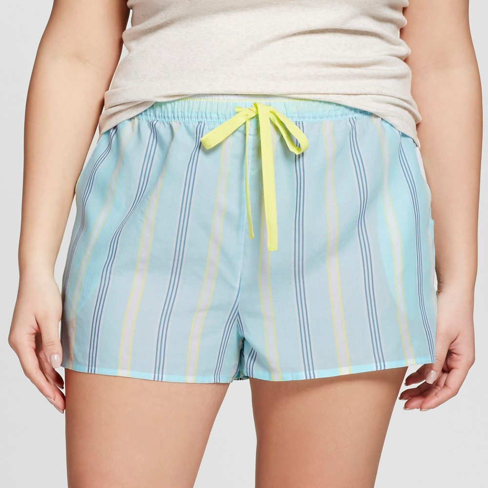 Womens Plus Size Tencel Pajama Shorts - Xhilaration Sheer Turquoise 3X, Blue