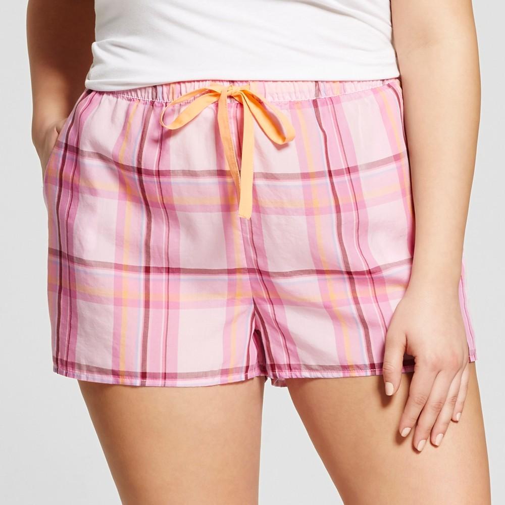 Womens Plus Size Tencel Pajama Shorts - Xhilaration Cheerful Pink 1X
