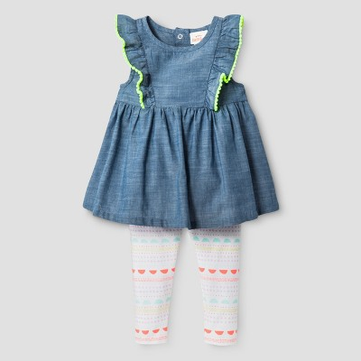 Baby Girls' Tunic and Print Leggings Set - Cat & Jack™ Chambray 3-6 Months