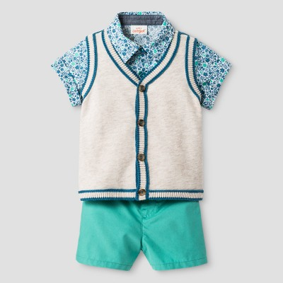Baby Boys' Short Sleeve Woven Shirt and Sweater Vest with Woven Short - Cat & Jack™ Oatmeal Heather/Green 0-3 M