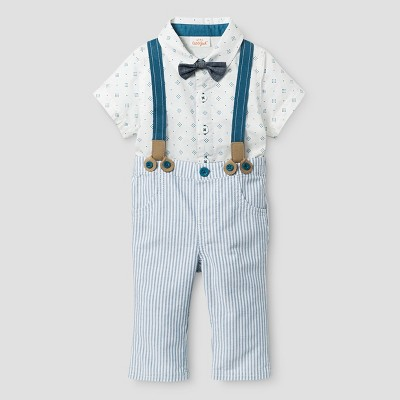 Baby Boys' Bowtie, Short Sleeve Woven Bodysuit and Suspender Pants - Cat & Jack™ White/Stripe 6-9 M