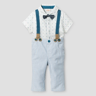 Baby Boys' Bowtie, Short Sleeve Woven Bodysuit and Suspender Pants - Cat & Jack™ White/Stripe NB