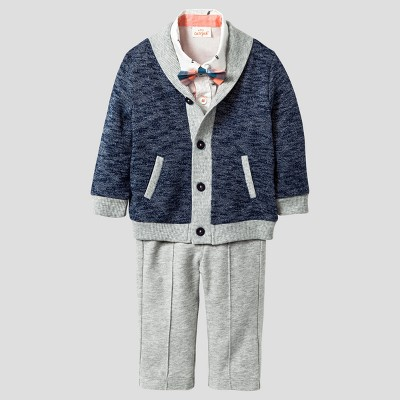 Baby Boys' 4pc Collar Sweater, Woven Top, Bowtie & Pants Set - Cat & Jack™ Navy/Gray 18 Months