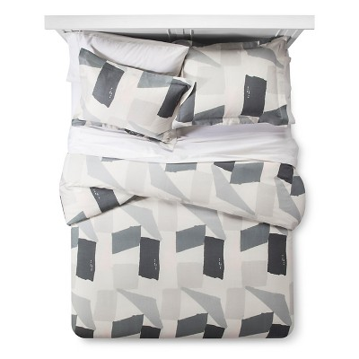 Gray & Cream Painterly Color Block Duvet Cover Set (Full/Queen)3-pc - Nate Berkus™