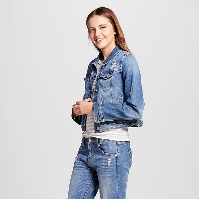 view Women's Denim Jacket Medium Blue - Mossimo Supply Co. on target.com. Opens in a new tab.