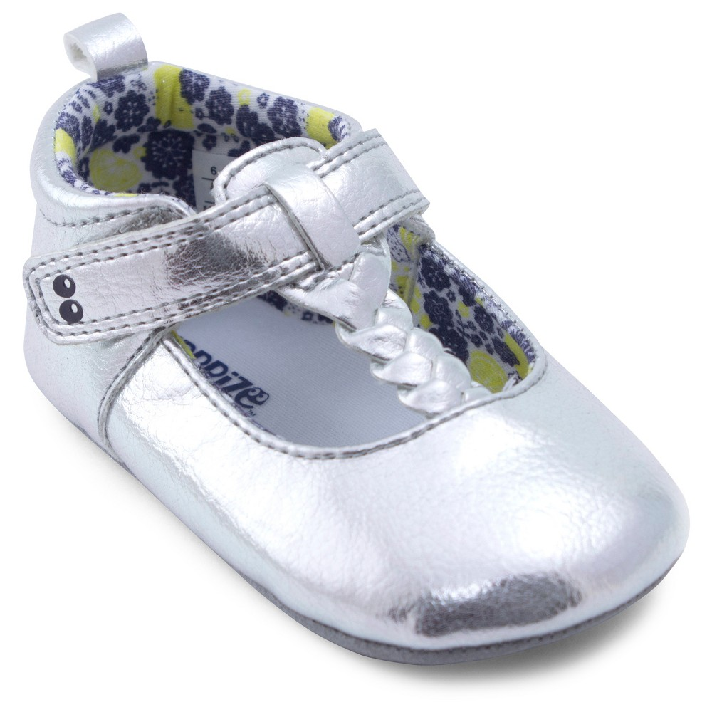 Baby Girls Surprize by Stride Rite Sparkle Mary Jane Soft Sole Shoes - Silver 0-6M