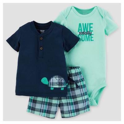Baby Boys' Plaid Turtle Shorts Set - Just One You™ Made by Carter's® Navy 3M