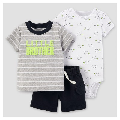 Baby Boys' Little Brother Shorts Set - Just One You™ Made by Carter's® Gray NB