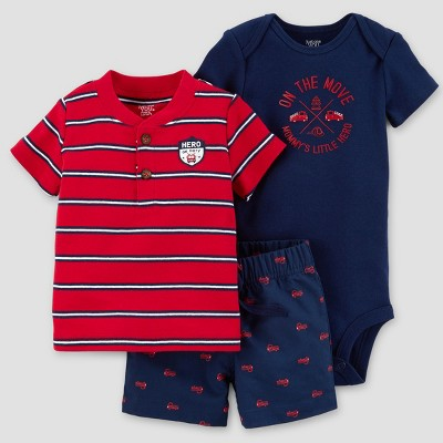 Baby Boys' Hero Firetruck Shorts Set - Just One You™ Made by Carter's® Red/Navy 9M