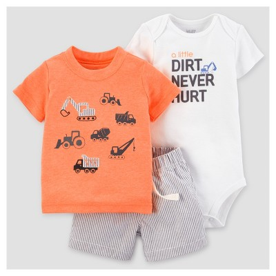 Baby Boys' Construction Shorts Set - Just One You™ Made by Carter's® Neon Orange 9M