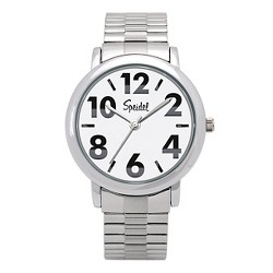 Speidel Bold Numbers Men's Watch,Stainless Steel White Face, Metal Expansion Band - Stainless Steel