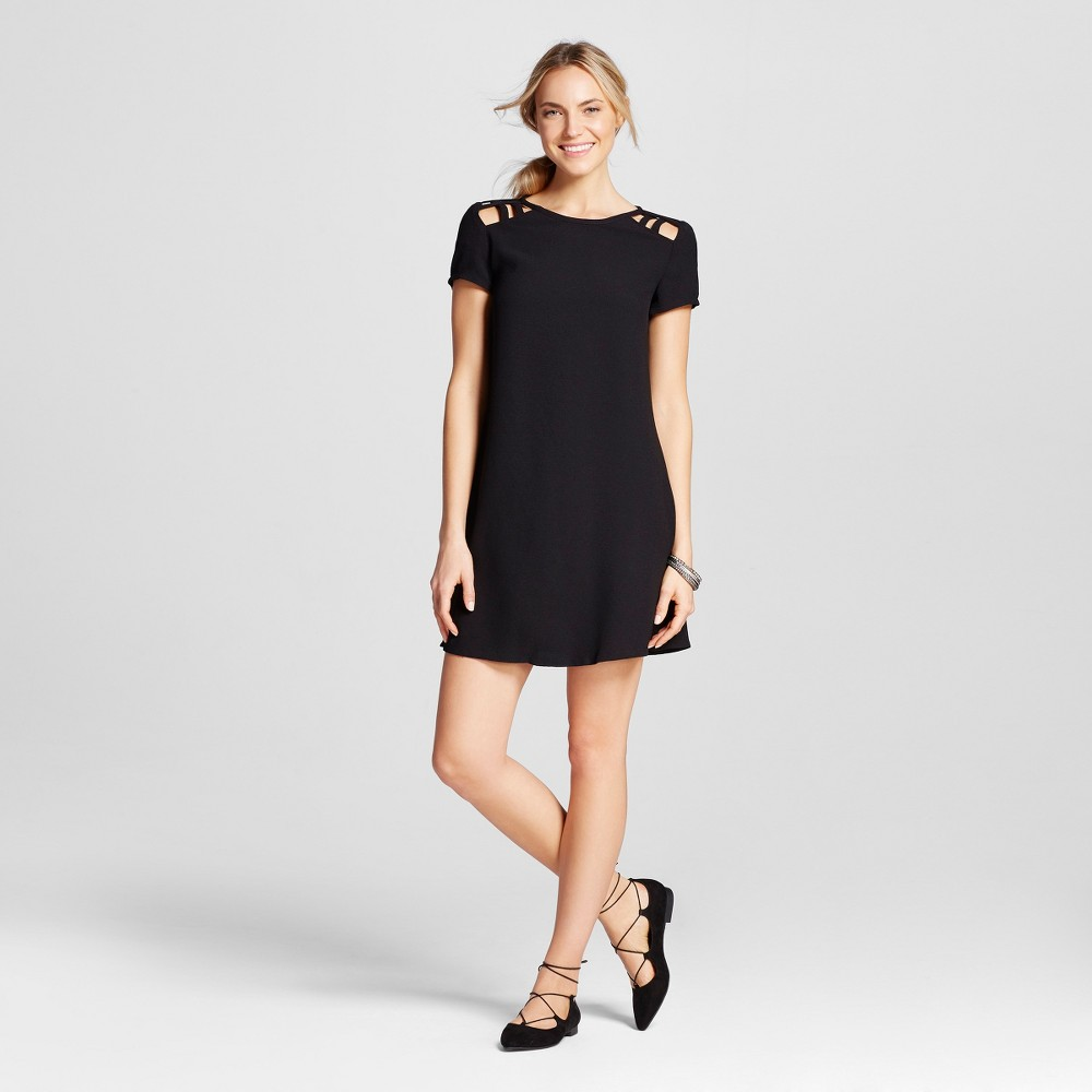 Womens Cut Out Short Sleeve Shift Dress Black L - Lots of Love by Speechless (Juniors)
