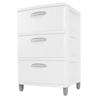 Sterilite 3 Drawers Medium Weave Tower Plastic Storage Anization In White 2 Pack