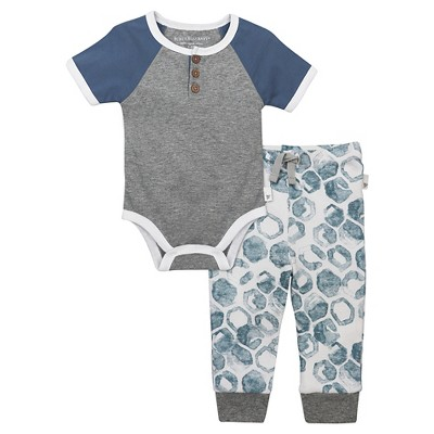 Baby Boys' Raglan Henley Bodysuit and Pants Set Heather Gray 3-6 M - Burt's Bees Baby®