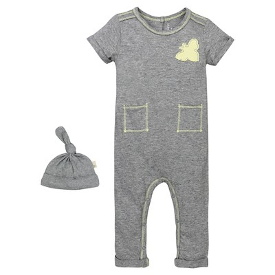 Babys' Patch Pocket Coverall and Hat Set Heather Gray 0-3 M - Burt's Bees Baby®