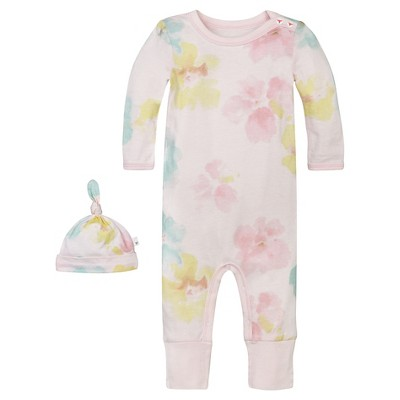 Baby Girls' Morning Glory Ruffle Coverall and Hat Set 0-3 M - Burt's Bees Baby®
