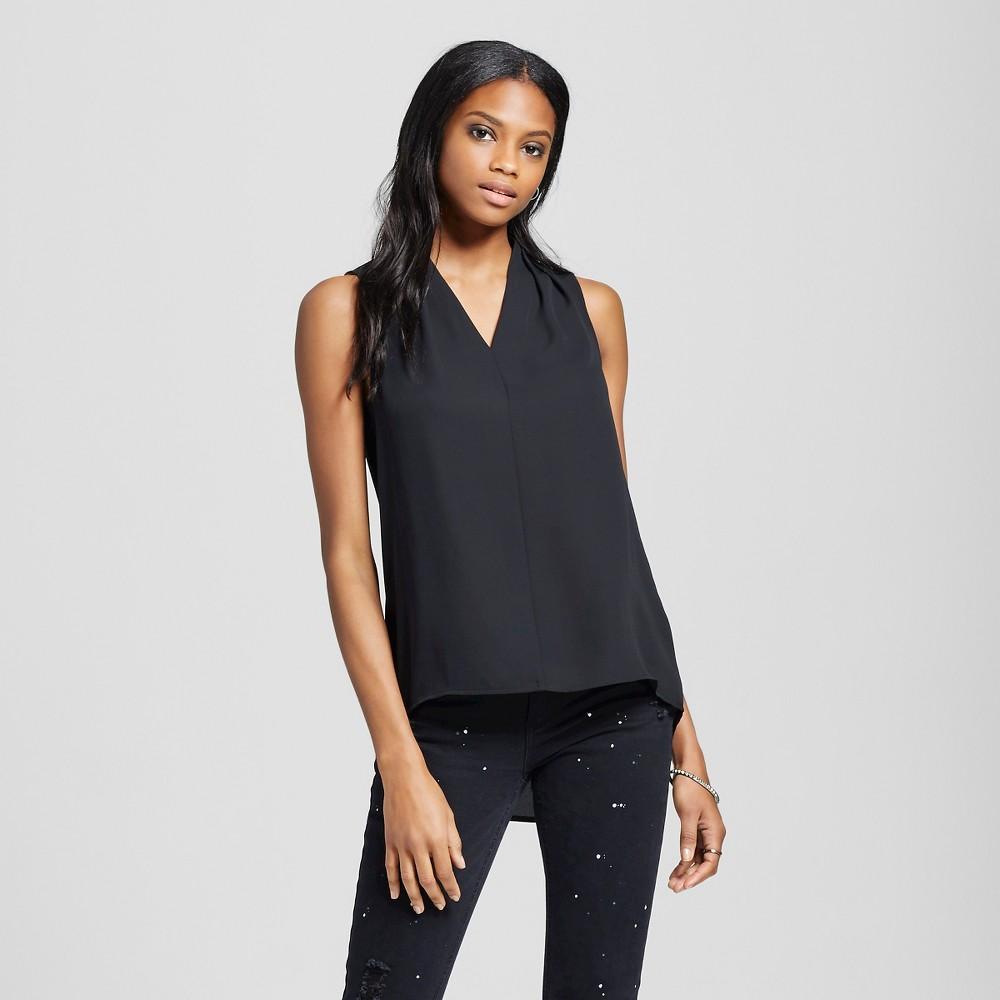 Womens Sleeveless V-Neck Blouse Black L - Mossimo