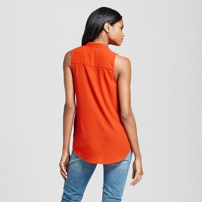 Women's Sleeveless V-Neck Blouse Orange Xxl - Mossimo