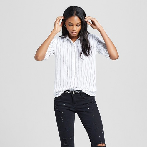 Women's Convertible Sleeve Blouse White & Black Stripe M - Mossimo