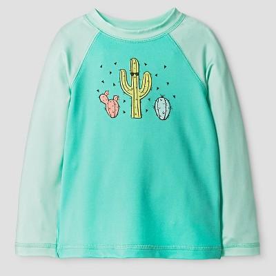 Baby Boys' Cactus Rash Guard - Cat & Jack™ Aqua 9 M