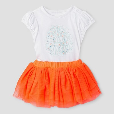 Baby Girls' Bodysuit and Tutu Set - Cat & Jack™ White/Coral 6-9 Months