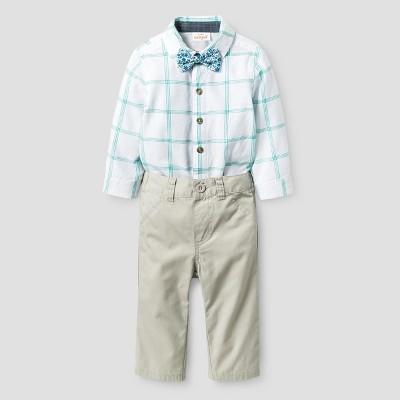 Baby Boys' 3pc Long Sleeve Woven Bodysuit, Bowtie, Pants Set - Cat & Jack™ White/Tumbleweed 6-9 M