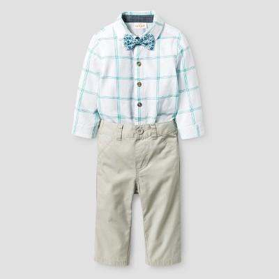 Baby Boys' 3pc Long Sleeve Woven Bodysuit, Bowtie, Pants Set - Cat & Jack™ White/Tumbleweed NB
