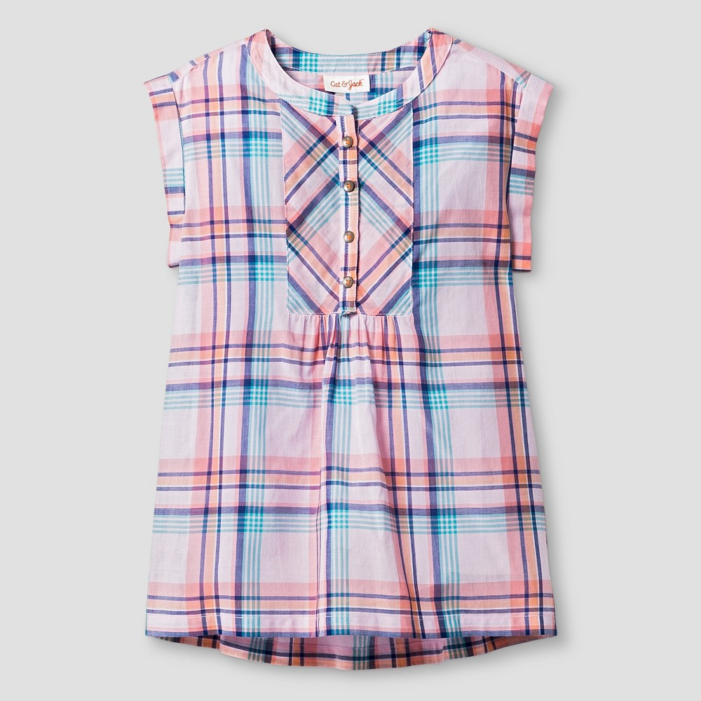 Girls' Woven Pink Plaid Top Cat & Jack Peppermint Stick S, Girl's