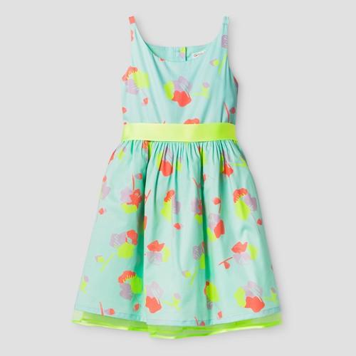 Girls' Floral Print Dress Cat & Jack - Aqua XS, Girl's, Blue