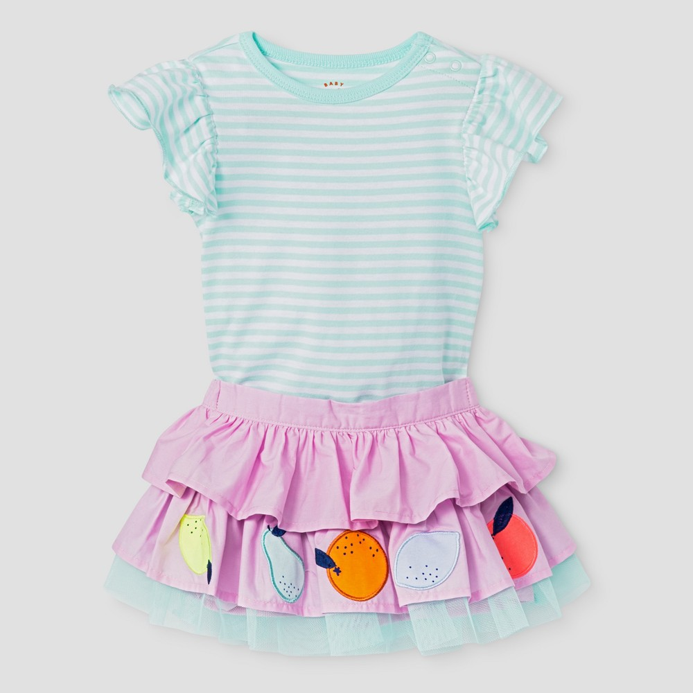 Baby Girls 2pc Coll Flutter Sleeve Bodysuit and Embroidered Tied Skirt Cat & Jack Aqua NB, Green