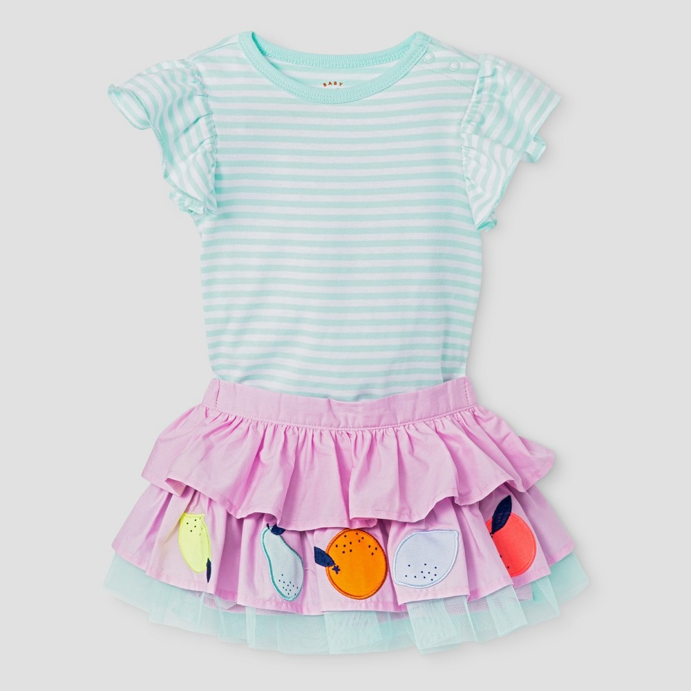 Baby Girls 2-Piece Coll Flutter Sleeve Bodysuit and Embroidered Tied Skirt Cat & Jack - Aqua 6-9 Months, Size: 6-9 M, Green