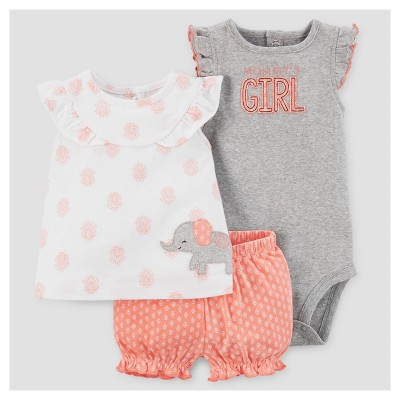 Baby Girls' Elephant Shorts Set - Just One You™ Made by Carter's® White/Orange 18M