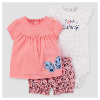 Baby Girls' Butterfly Shorts Set - Just One You™ Made by Carter's® Pink NB