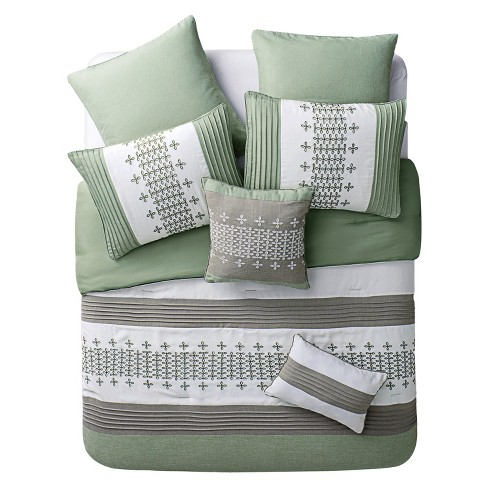 Geneva Pleated Comforter Set 8 Piece Sage Green - VCNY® - image 1 of 2