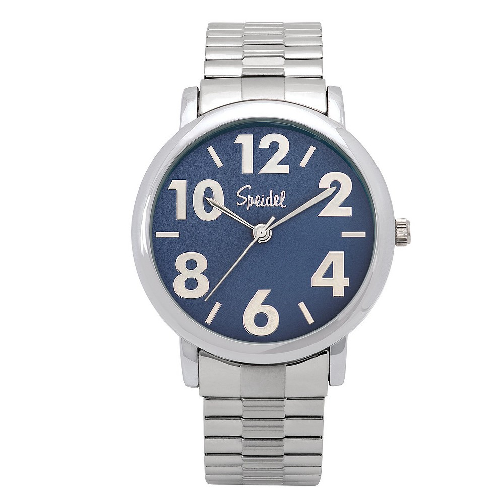 Speidel Bold Numbers Mens Watch,Stainless Steel Blue Face, Metal Expansion Band - Stainless Steel, Silver