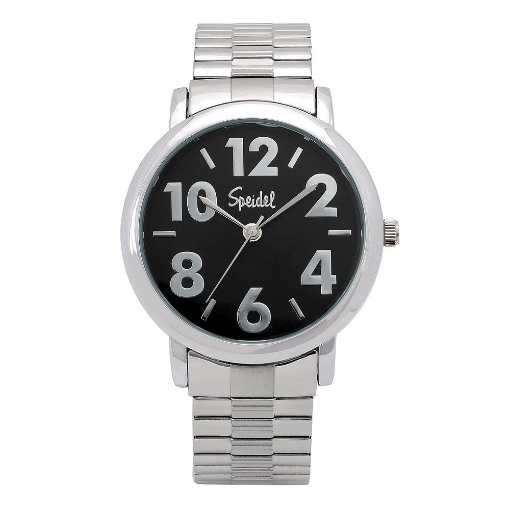 Speidel Bold Numbers Mens Watch, Stainless Steel Black Face, Metal Expansion Band - Stainless Steel, Silver
