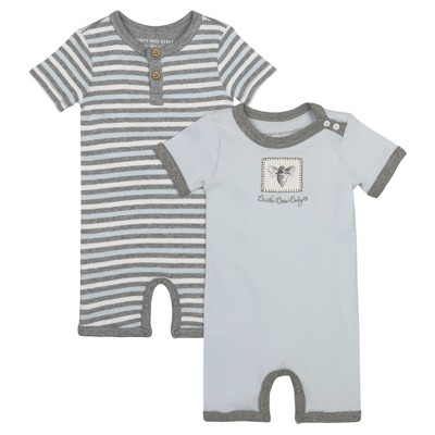 Burt's Bees Baby® Boys' Organic 2 Pack Honey Bee Shortalls - Light Blue 18 M
