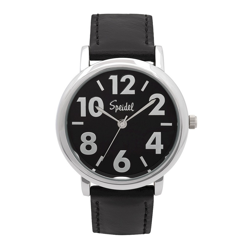 Speidel Bold Numbers Men's Watch, Stainless Steel Black Face With Leather Band Black