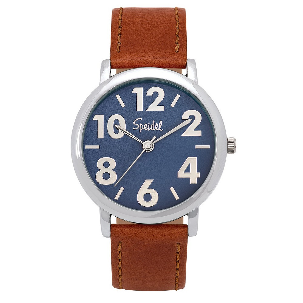 Speidel Bold Numbers Men's Watch,stainless Steel Blue Face With Leather Band Brown, Black
