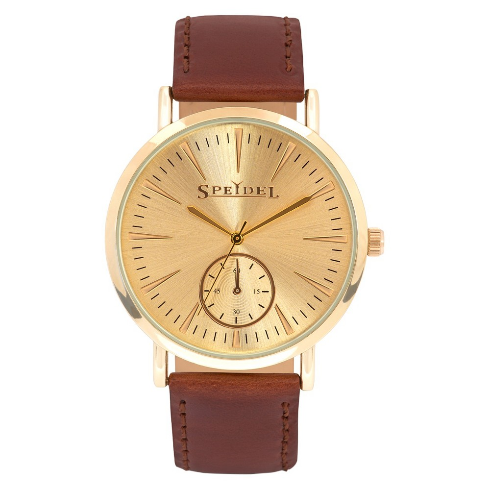 Speidel Gold Men's Watch, Gold Dial And Leather Band Brown