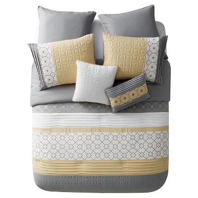 Yellow&Gray Winston Geometric Comforter Set (Full/Queen)7 Piece - VCNY®